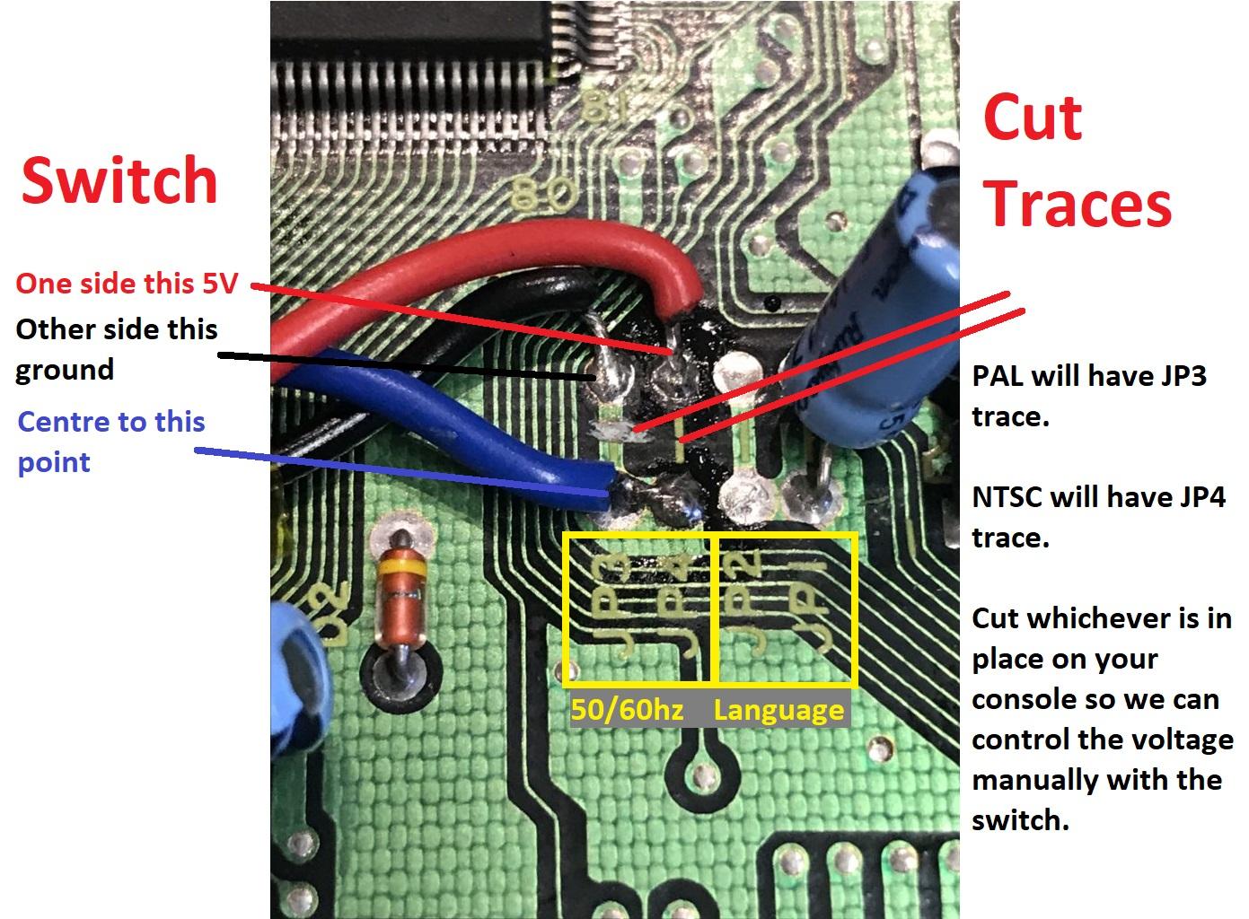 sega megadrive va4 60hz mod wiring locations